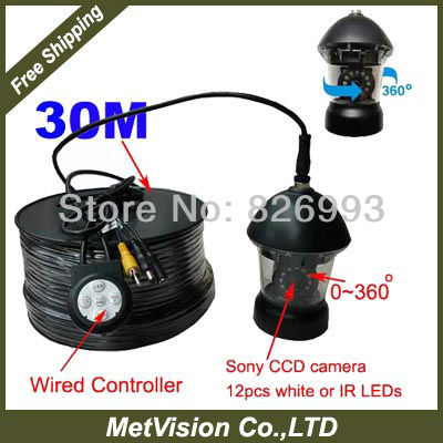 Digital underwater camera PTZ paning camera, underwater camera system SONY CCD 420TV lines with 30m cable 12pcs IR or White LEDs(China (Mainland))