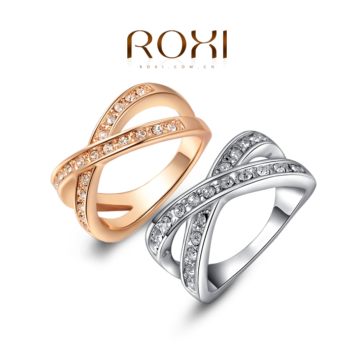 ROXI Christmas gift to girl X rings,top quality make with genuine SWR crystal, 100% hand made fashion jewelry,2010011290(China (Mainland))