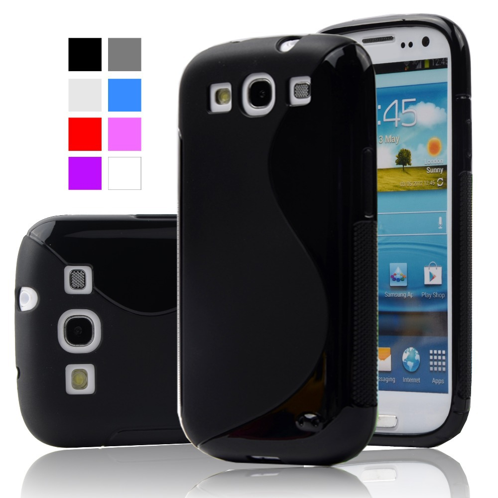 S3 S LINE Anti Skiding Gel TPU Slim Soft Case Back Cover for Samsung Galaxy S3 SIII I9300 S 3 Mobile Phone Rubber silicone Bags(China (Mainland))
