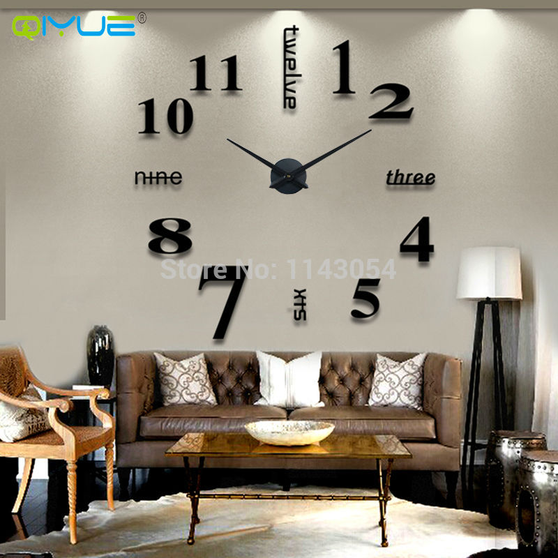 home decoration 3d wall clock large digital wall clock creative living room bedroom clock watch fun DIY Wall Clock unique gifts(China (Mainland))