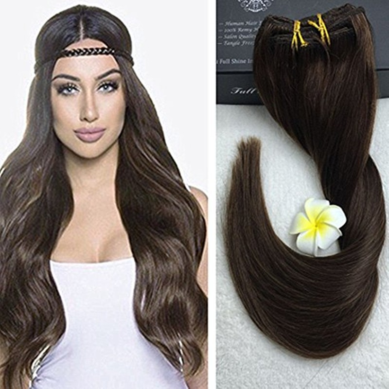 Full Shine Full Head Clip ins Extension Colour #4 Medium Brown Straight Clip in Extensions 9 Pcsset 100g Brazilian Human Hair