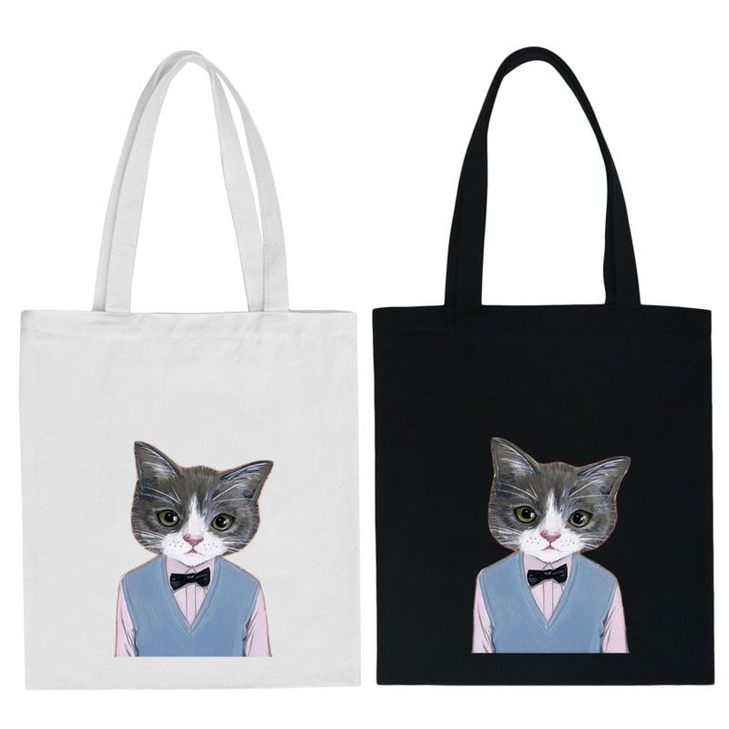 2016 Women Lovely Cat Recycle Canvas Bag Eco-friendly Shopping Causal Tote Letter Women Messenger Bag R0149(China (Mainland))