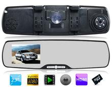 "2.7"" Screen 120-degree Wide-angle Lens 1080P Ultra Slim Vehicle Black Box DVR Camera Video Recorder & Rearview Mirror Black(China (Mainland))"