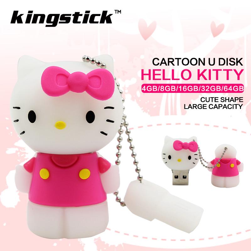 2017 New Cute cartoon pink hello kitty usb flash drive 16GB 8GB 4GB pen drive 64GB 32GB flash memory stick U disk(China (Mainland))