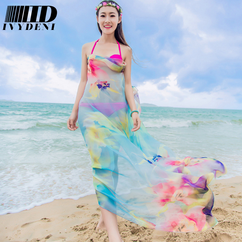 200*140cm Big Size Pareos Summer Beach Cover Up Green Flower Silk Scarf Long floral Chiffon Scarf Women New Large Designer Scarf(China (Mainland))