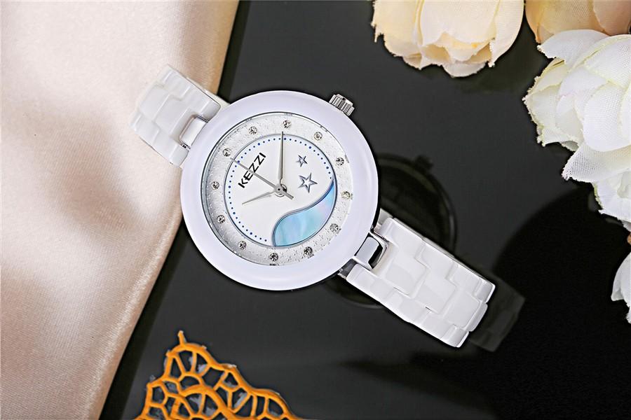 KEZZI real ceramic women watch super waterproof  top luxury brand fashion ceramic wristwatch women dress quartz watch k1291
