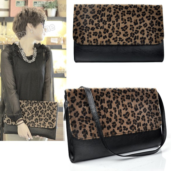 High quality Hot Sale Ladies Evening Bag Fashion Design Horse Hair Leopard Clutch bags Shoulder Handbag 2957(China (Mainland))