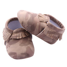 Baby Girls Boys Camouflage Crib Shoes Toddler Tassel Soft Slippers Shoes 0-12Ms  2015 Summer New(China (Mainland))