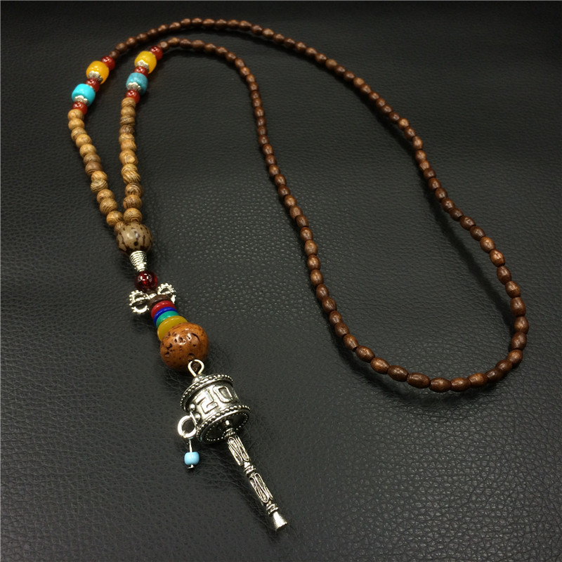 Chinese Lucky Sweater Chain Necklace Vintage Wooden Beads Mascot Necklaces For Women Men Luck Birthday Gift Souvenir [ZM043000](China (Mainland))