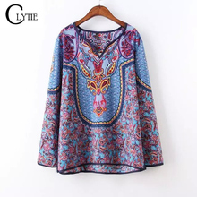 2016 Tribal Print Blouses Ladies' Elegant vintage Baroque Print Retro Blouses V-Neck Long Sleeve Ethnic Shirts Casual Tribal