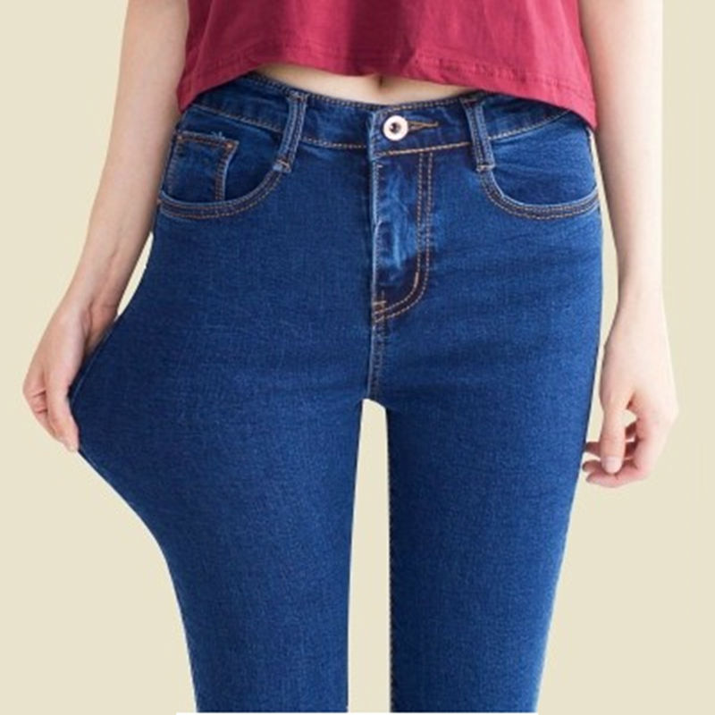 Women High Waisted Jeans Skinny Fashion Slim Solid Color Denim Jeans Ankle Length and Full Length Pencil Pants High Waist Jean(China (Mainland))