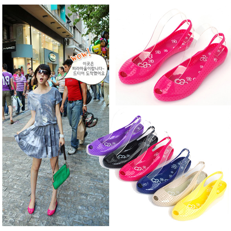 2013 small open toe jelly shoes summer plastic shoe vintage female sandals casual flat - Eve L 's store