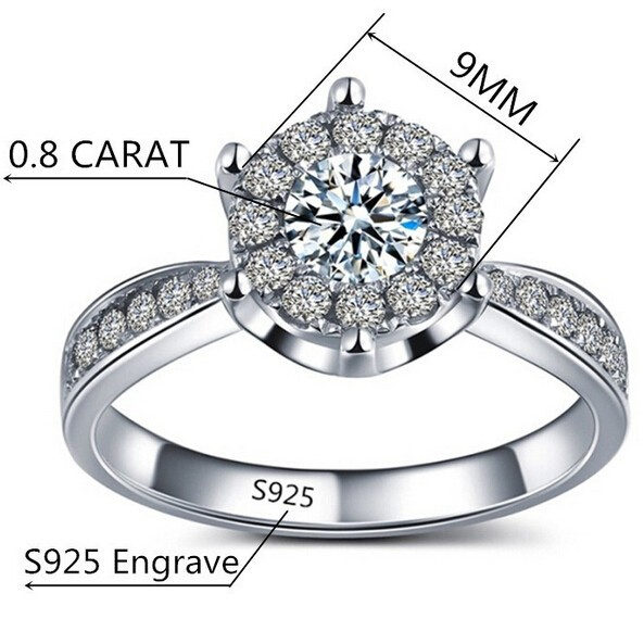 Luxury 925 Sterling Silver Jewelry Romantic Свадьба rings for Женщины cubic zirconia diamond Модный bague  ASR093