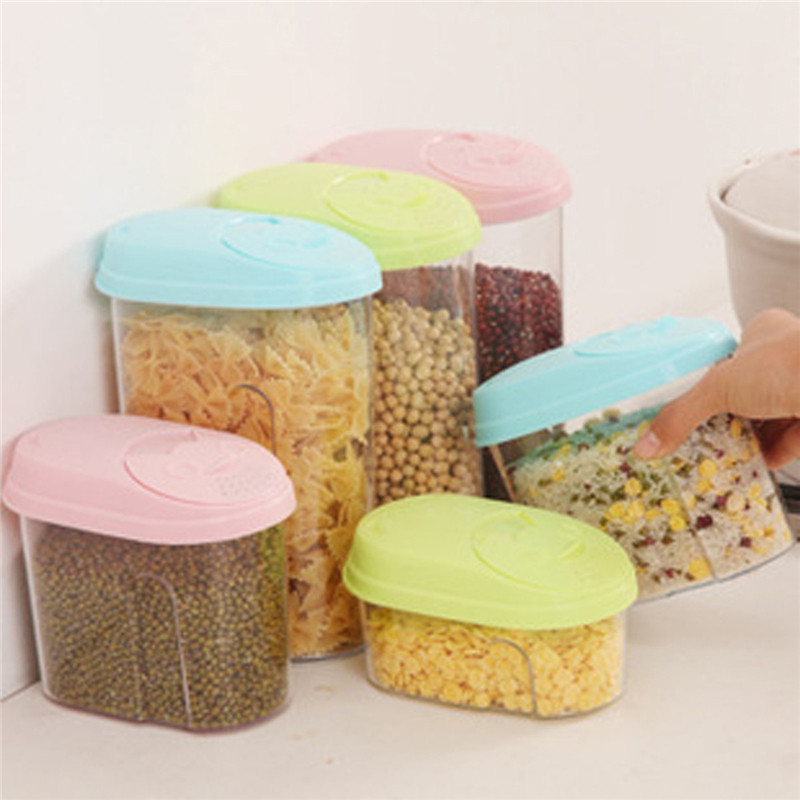Hot Sale Excellent Quality 0.5L/1.L/2L PP Food Cereal Rice Container Storage Store Box Kitchen Tool Pink/Blue/Green(China (Mainland))