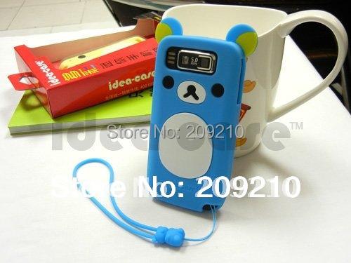 New Cartoon Rilakkuma Lazy Bear Soft Back Case for Nokia E72 E72i, With Retail Package,free shipping 1pcs min order(China (Mainland))