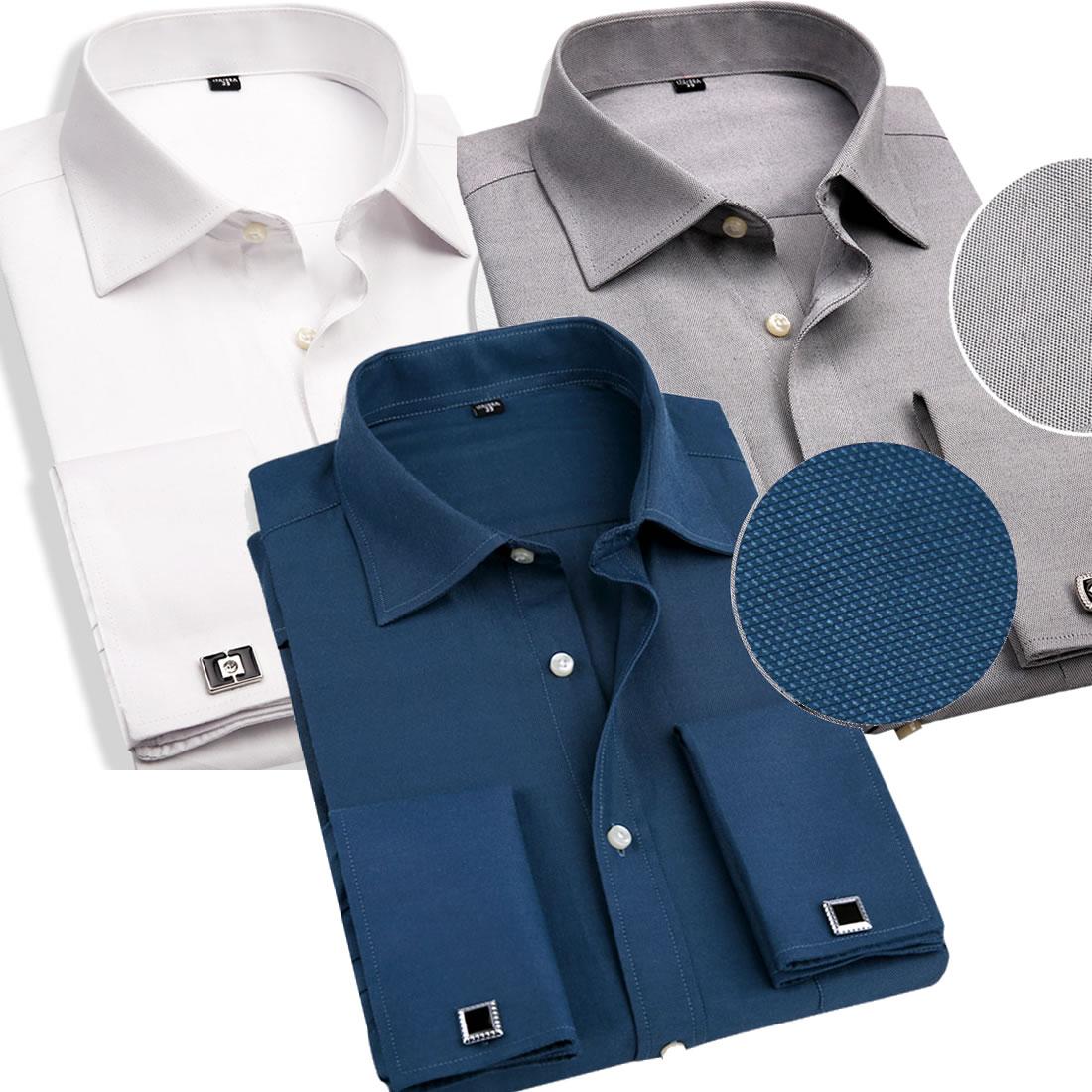 Mens Dress Shirt French Cuff Shirt Slim with Cufflinks Men Shirt Long Sleeve Famous Brand 2016 Camisa Social Men Clothes