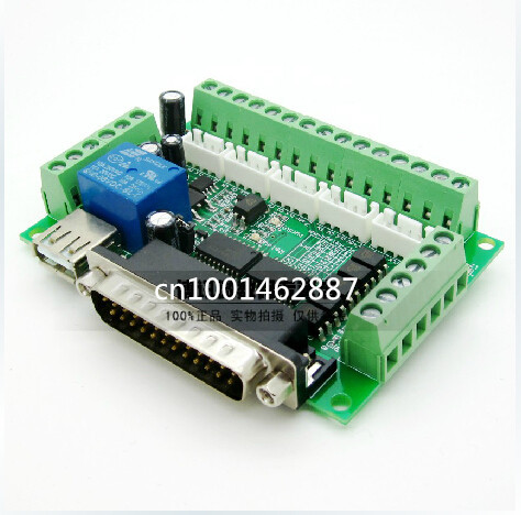 5 axis USB CNC controller MACH3 engraving machine interface 5 axis stepper motor driver board with optocoupler isolation(China (Mainland))