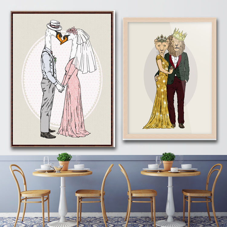 Funny Animal Wedding Decoration Art Poster Canvas Frameless Painting for Couple wall art decor gift(China (Mainland))