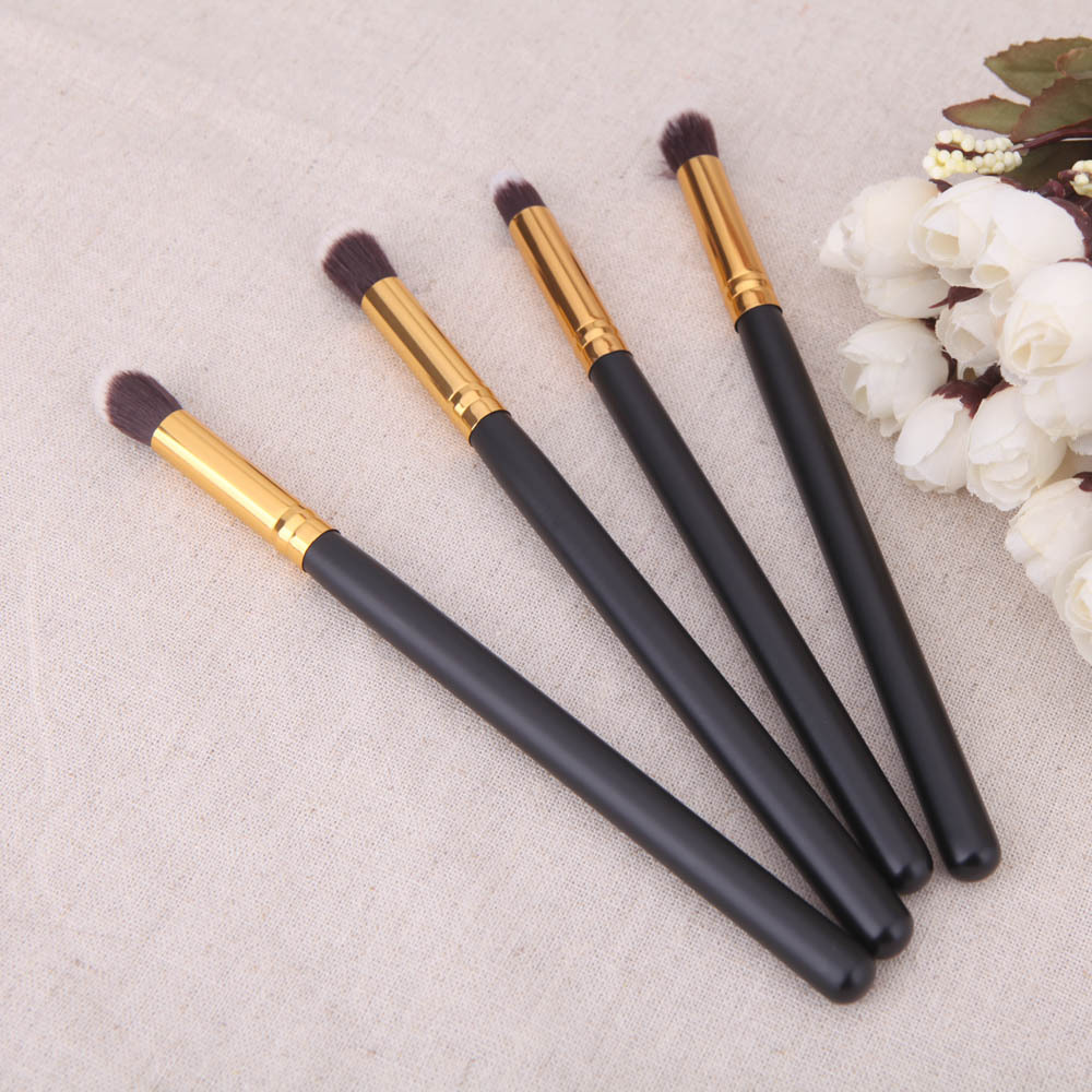 4 makeup brush black handle gold brush beauty tool manufacturing