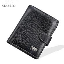 Mens Gentlemen Black Real Genuine Leather Wallet ID Credit Card Slot Zipper Pocket Coin Pouch Clutch Checkbook Standard Purse - Windshow store
