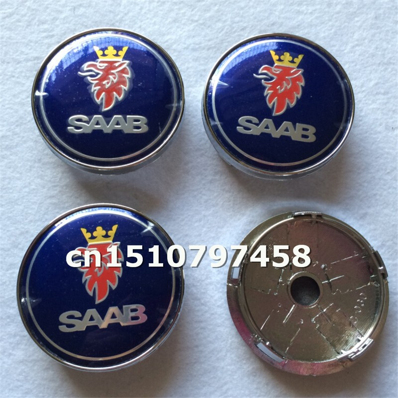 50pcs/lot resin 60mm blue SAAB wheel center caps hub cover car badges emblems special offer <br><br>Aliexpress