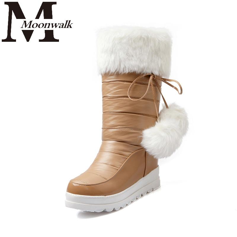 Plush Snow Boots Women 2015 Womens Winter Platform Boot Flat Warm Long Fur Lined Mid Calf White Snowshoes Waterproof Size10 S707