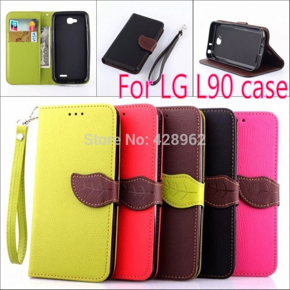 Fashion Leaf Buckle Style Wallet flip pu Leather Case Cover LG L90 D410 D405 D415 Flip Stand Phone Cases coque - Holly Reliable (HK store industry co.,LTD store)