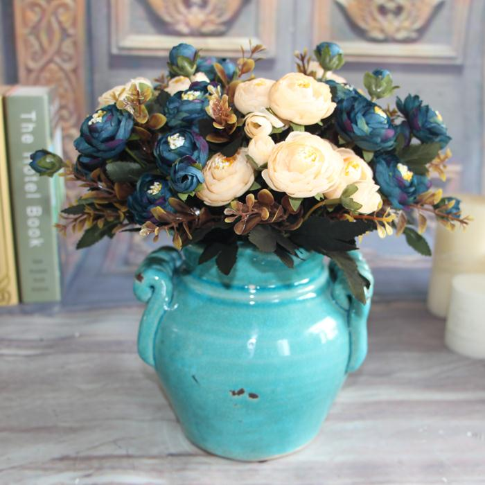 New Year Hot Vivid 6 Branches Autumn Artificial Fake Peony Flower Home Room Bridal Hydrangea Decor Real Touch(China (Mainland))