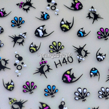 Wholesale 5 Sheets Cute Fish Design 3D Nail Art Stickers Decals Nail Decorations Rhinestones H40(China (Mainland))