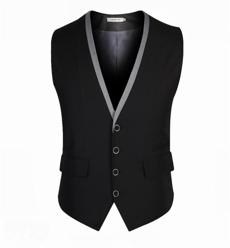 2015 New Arrival Classic Men Suit Vest Black Cotton Gray Waistcoat Gilet Homme Fashion Mens Dress Suit Vest Colete Masculino(China (Mainland))