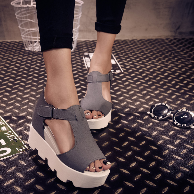 2015 Summer New Fashion T-strap Shoes Woman PU Leather Gladiator Sandals Women Wedges Platform Sandals SIZE 34-40 SX03(China (Mainland))