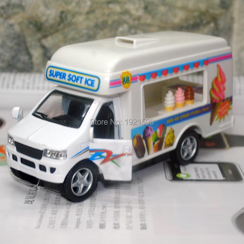 Brand New KINGSMART Super Soft Ice Cream Truck Diecast Metal Pull Back Car Model Toy For Gift/Collection/Kids(China (Mainland))