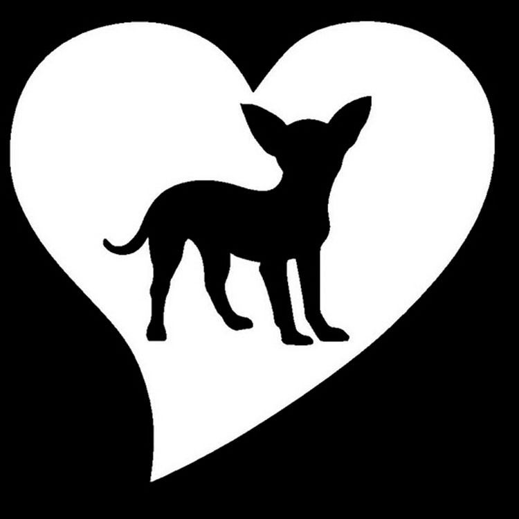 Grebest Car Stickers External Decoration Car Sticker Lovely Chihuahua Pet Dog Reflective Car Vehicle Body Window Decals Sticker Decor Black