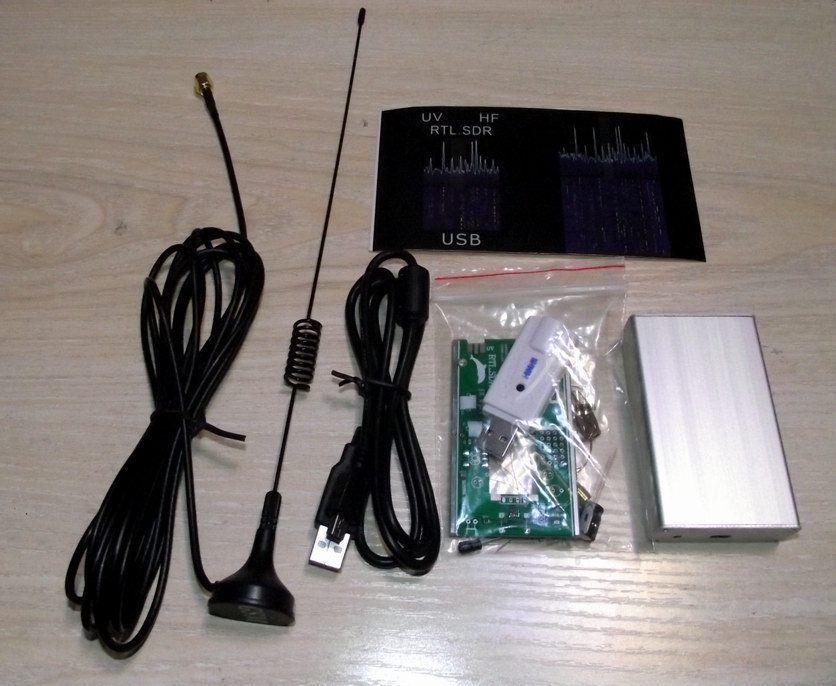 100KHz-1.7GHz full band UV HF RTL-SDR USB Tuner Receiver DIY KITS + U/V antenna(China (Mainland))