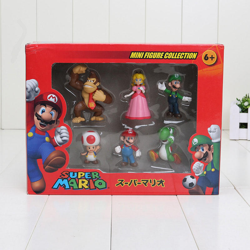 Super Mario Bros Peach Toad Mario Luigi Yoshi Donkey Kong PVC Action Figure Toys Dolls 6pcs/set New in Box(China (Mainland))