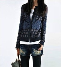 2015 European casual knitted cardigan sweater,winter sweater women jackets coat, vintage dots print long sleeve knitwear sweater(China (Mainland))