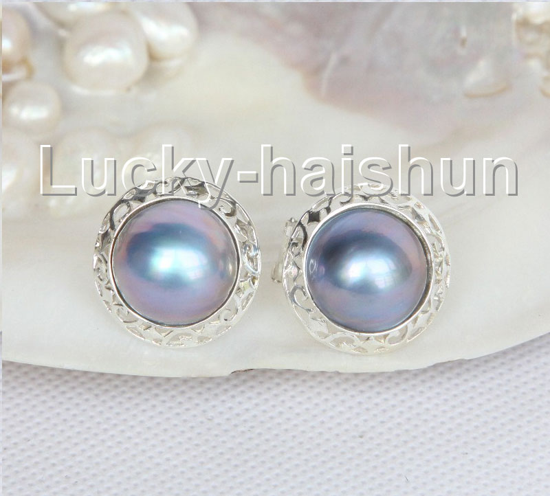 AAA natural 20mm blister Blue South Sea Mabe Pearls Earrings 925 silver j11097<br><br>Aliexpress