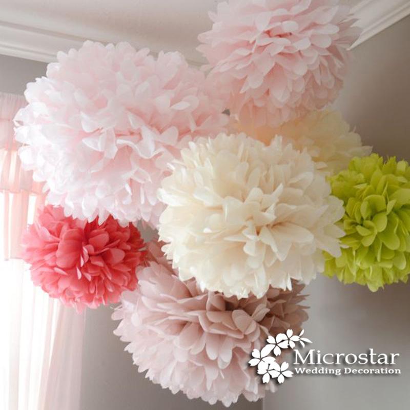 Pom Poms 1pcs 35cm Tissue Paper Artificial Flowers Balls Wedding Decoration Crafts Party Home Events Supplies