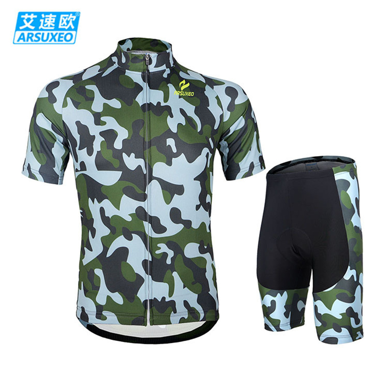 ARSUXEO Camouflage Cycling Bicycle Bike Clothing Breathable Quick-Dry Short Sleeve Jersey + 3D Coolmax Padded Shorts Set