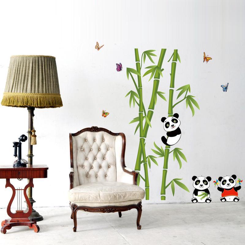 Cute panda bamboo diy vinyl wall stickers home decor art for Cute wall decor for bedroom