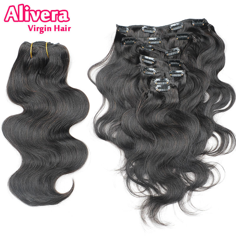 Fast Shipping 7A Grade 100% Brazilian Virgin Remy Clips In Human Hair Extensions 7pcs/set Full Head Natural Black 1B Body Wave(China (Mainland))