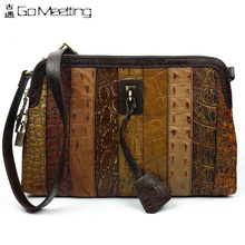 2016 Genuine Leather Women's Patchwork Shoulder Bag First Layer Cowhide Messenger Bags Vintage Fashion Cross Body Bags WDJB27