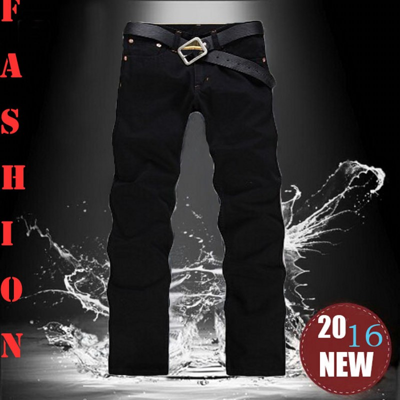 2016 New Arrival Fashion Black Color Slim Straight Leisure & Casual Brand Jeans Men,Hot Sale Denim Cotton Men Jeans,33066(China (Mainland))