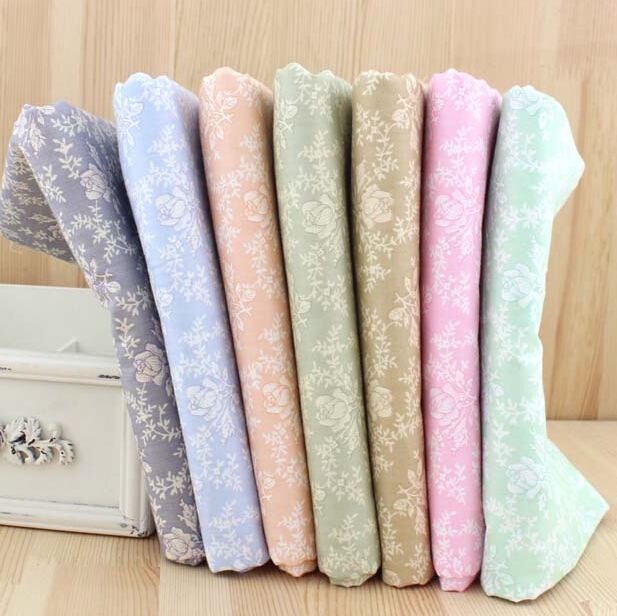 New 40*50CM 7PCS Retro Rose Printed Cotton Fabric Telas Bundle DIY Patchwork Sewing Baby Toy Material Quilting Bedding Tecido(China (Mainland))