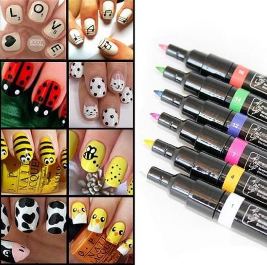 Free Shipping Wonderful 1pc Lady Nail Art Pen Painting Design Drawing Tool 16 Colours for Option Free Shipping(China (Mainland))