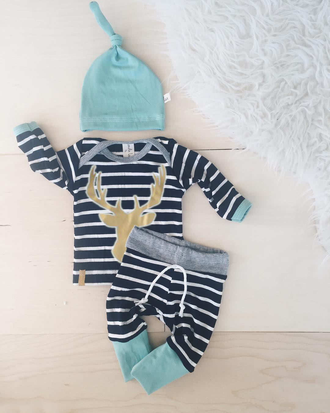 3pcs baby set!!Newborn Baby Boys Girls long sleeve striped deer T-shirt+ long striped pants +hat