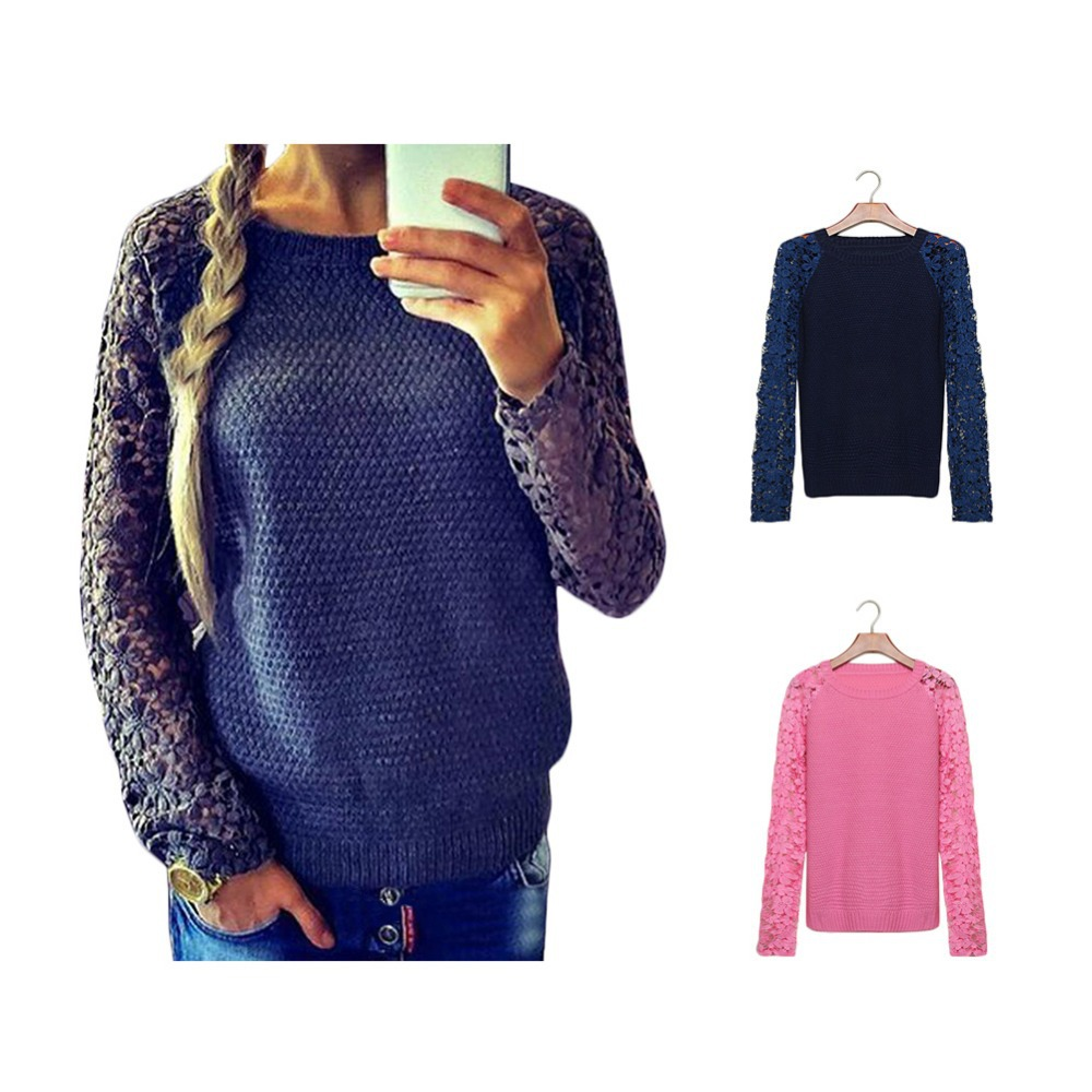 2015 Newest Womens Casual Patchwork Lace Pullover Knitted Long Sleeve Hollow Colorful Sweater - Fashion Online Store store