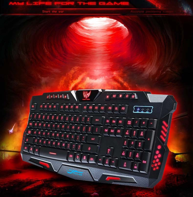 English Version Tri-color LED Backlight Flying colors Mechanical Touch Gaming Advanced Keyboard Game Keyboard for PC Laptop LOL(China (Mainland))