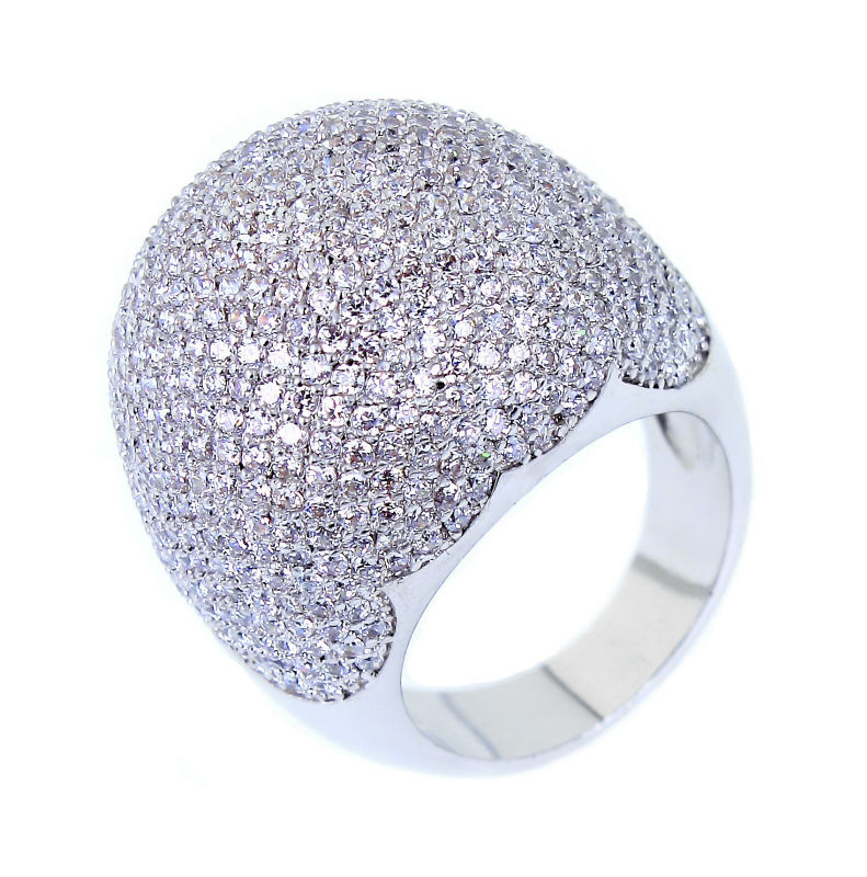 Women Rings'Secret Designs Dome Shape Micro Pave Setting Clear White AAA+ CZ High Quality Platinum Plated Bridal Finger Ring(China (Mainland))