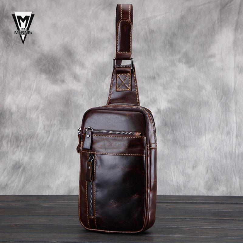 Men bags genuine leather chest pack fashion cowhide wax chest pack large Korean package men messenger
